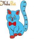 Ahşap Boy Cetveli Sevimli Kedi-Mavi