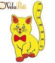 Ahşap Boy Cetveli Sevimli Kedi-Sarı